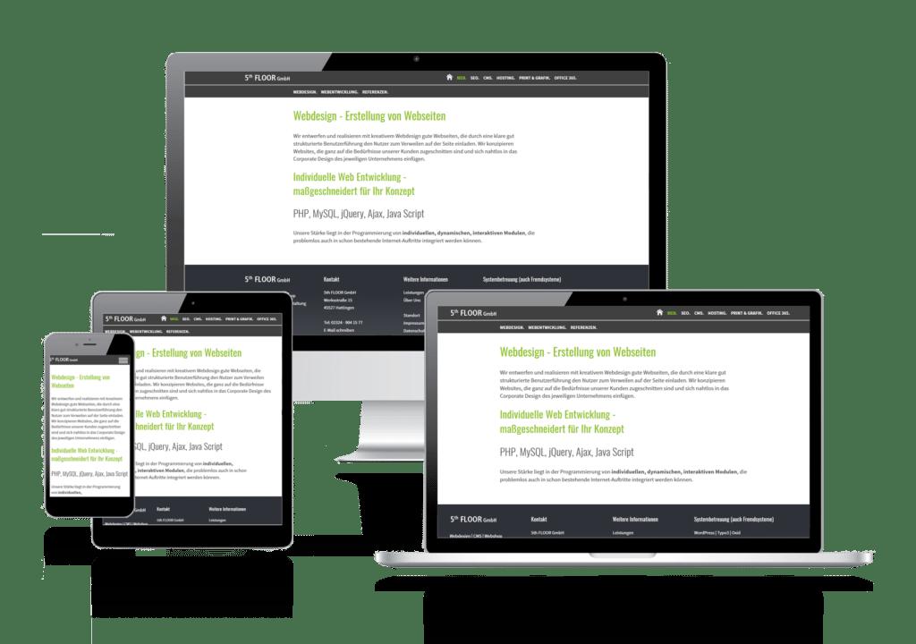 Webdesign Erstellung von Webseiten